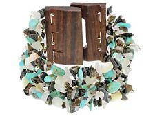 "Turquoise Wooden Buckle Bracelet by Tehya Oyama Turquoise - 7.5"" long"
