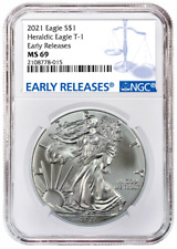2021 1oz Silver Eagle Ngc Ms69 - Early Releases - Blue Label - In Stock