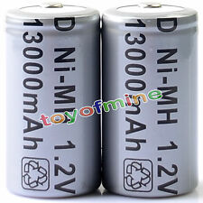 2x D Size D-Type D Type 13000mAh 1.2V Ni-MH Rechargeable Battery Cell Grey