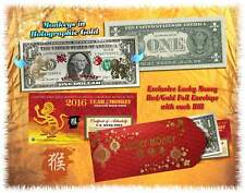 Lot of 25 Chinese New Year 24KT GOLD Lucky Money 2016 YEAR OF THE MONKEY $1 BILL