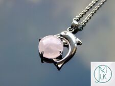 Rose Quartz Dolphin Natural Gemstone Pendant Necklace 50cm Healing Stone Chakra