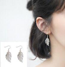 925 Sterling silver post Dangle Drop Leaf Earrings 24mm lenght Gift Box K57