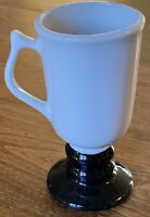 Hall Pottery Irish Coffee Pedestal Mug/Cup #1273 White Black USA 10oz