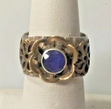 MODERNIST STERLING SILVER & COPPER 1 CT SAPPHIRE SQUARE SHANK RING SIZE 7