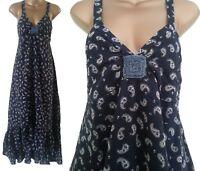 £15.99! BN WALLIS NAVY TIERED PAISLEY BEADED SUMMER BEACH MAXI LONG DRESS 8~18