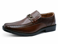 MENS FLAT BROWN SLIP-ON WORK WEDDING SMART LOAFERS FORMAL SHOES SIZES 5-10