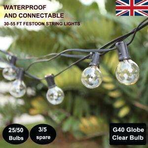 30ft 55ft G40 Globe Bulb String Lights Vintage Outdoor Garden Gazebo Fairy Light