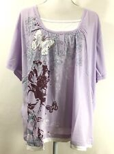 2d3d8146a3c HABAND knit top SIZE 3XL purple white butterfly faux layered short sleeve  (H166)