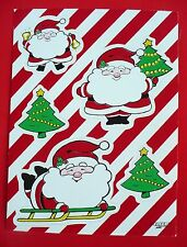 VINTAGE PAPER ART CHRISTMAS 5 STICKERS 1 SHEET SANTA ON SLED XMAS TREES