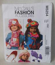 McCall's sewing pattern fashion accessories M5254 Kids hats mittens scarfs UNCUT