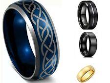 8MM Asserted Styles Tungsten Carbide Ring Men Women Wedding Engagement Band