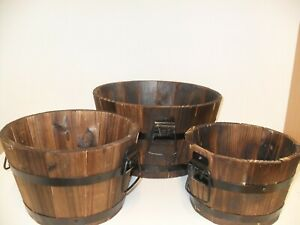 Burnt Wood Half Whiskey Barrel Wooden Planter Round Plant Pot Trio Sets
