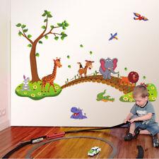 3D Cartoon Wall Stickers Jungle Wild Animal Tree Bridge Design  Room Home Decor