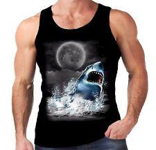 Velocitee Mens Vest Shark Bite Moon Big Animal Head Great White Jaws A18319