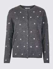 M&S Grey Embellished Cardigan Size UK 16