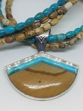 Jay King DTR Sterling Silver Jasper & Turquoise Pendant Necklace