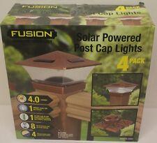 4 Solar Fence Post Cap Lights Copper Color (Adaptable Post Fit Size)