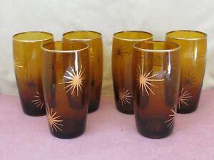 6 Vintage Amber Drinking Glasses w/ Gold Atomic Starburst & Trim MCM