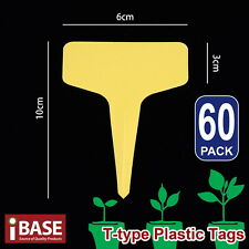 60x Plant Marker T-type Garden Labels Plastic Tags Nursey Seed 10x6 Cm Yellow