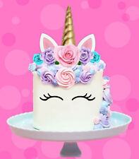 🌟 UNICORN GOLD HORN EARS EDIBLE STAND UP CAKE TOPPER IMAGE DECORATION BIRTHDAY