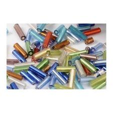 Packet 2200 Mixed Glass Circa 5-20mm X 2mm Tube Seed Beads Y12180