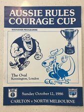 RARE VFL 1986 'COURAGE CUP' CARLTON VS NORTH MELBOURNE THE OVAL LONDON PROGRAM