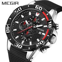New MEGIR Chronograph Sports Watch Men Big Dial Waterproof Military Quartz Wrist