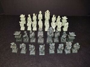 Chinese Asian Oriental Carved Soapstone Chess Pieces Complete Set Green & Black