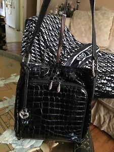 BRIGHTON CHER BLACK CROC EMBOSSED PATENT LEATHER SHOULDER BAG  ORGANIZER