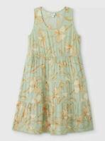 Ava & Viv™ ~ Green Iris Floral Print ~ 1X ~ Sleeveless ~ Tiered ~ Midi Dress