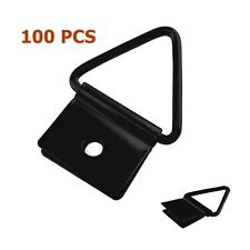 "100 Pcs 1"" 1 Hole Black Iron Triangle D Ring Picture Hangers + Screws"