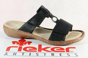 Rieker Femme Sandales Sandales Sandale Noir v6888 Véritable Cuir Neuf!!!