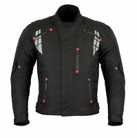 Mens Black Motorcycle Motorbike Textile Jacket Waterproof Cordura CE Armoured