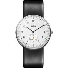 Braun Mens Stainless Steel Quartz Watch Leather Strap BN0024WHBKG