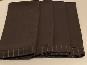 "Waterford Linens Rigato Linen Blend Gray Napkins 21"" x 21"" Set of 4 NWT"