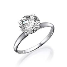 1 CARAT NATURAL ROUND CUT ENHANCED DIAMOND ENGAGEMENT RING D/SI1 18K WHITE GOLD