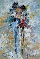 ANDRE DLUHOS ORIGINAL OIL PAINTING Figures Couple Love Relationship Man Woman