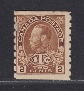 Canada Scott MR7a MH 1916 2c+1c Brown Type I War Tax Coil Thin Spot SCV $200