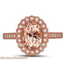 1.76Ct Natural Morganite Milgrain Style Solid 18K Rose Gold Diamond Ring