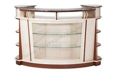 Reception counter desk glass shelve Marble Top pedicure chair nail hair spa