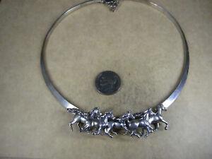 "Neat Kabana Sterling Silver Horses Collar/Choker Necklace, 15.75"", 42.5g"
