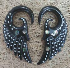 Tribal Horn Ear Gauge Pair Expander Piercing Hook Organic Stretcher Plug Tunnel