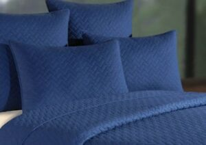 BASKET WEAVE NAVY BLUE STANDARD SHAMS (TWO) : 100% COTTON GRAMERCY PILLOW COVER