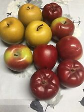 Lot of 10 Faux Gold Red Apples Plastic Wood Fake Fruit Home Fall Decor
