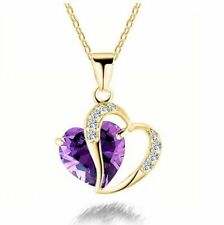 Fashions The Clavicle Purple Heart Purple Crystal Gold Pendant Necklace Jewelry