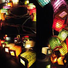 20 Squred Design Multi Color Thai Paper Lantern Fairy String Lights Patio Party