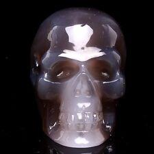 BRAZIL GEODE AGATE Carved Crystal Skull Skeleton, Realistic,Crystal Healing TM17