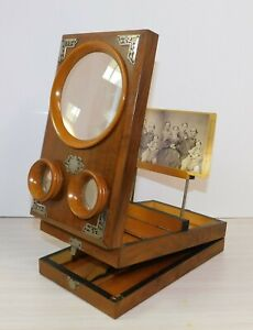 Antique Wood Graphoscope Stereoscope Viewer Photographs Magnifying Glass