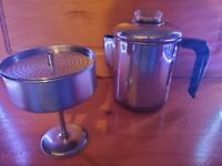REVERE WARE Coffee 6-8 Cup Percolator Copper Clad Stainless Pyrex Vintage Shiny