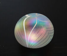 Vintage Pulled Feather Irridescent Studio Art Glass Paperweight